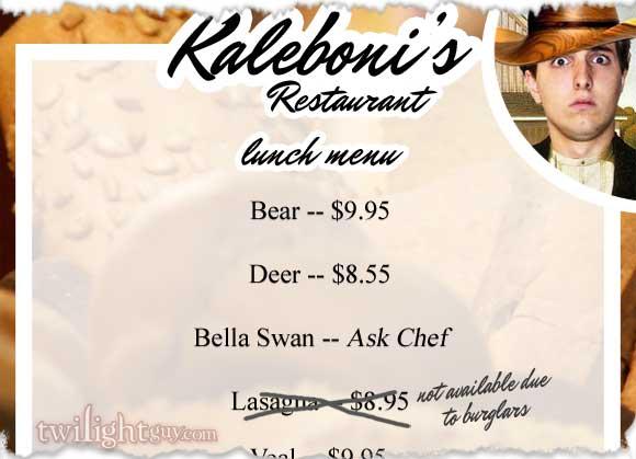 Kaleboni's Menu