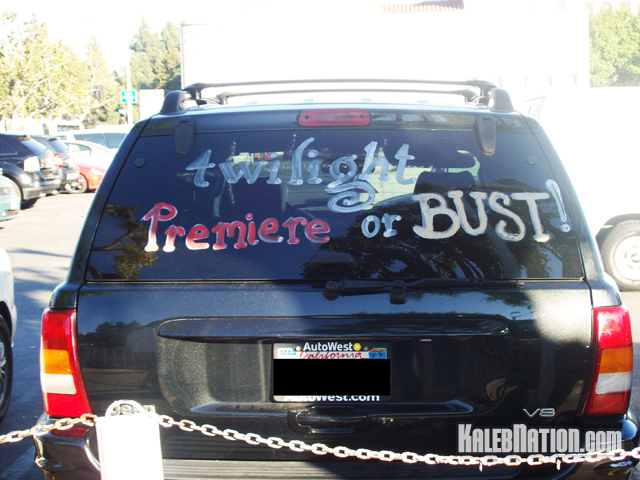 A van parked near the premiere